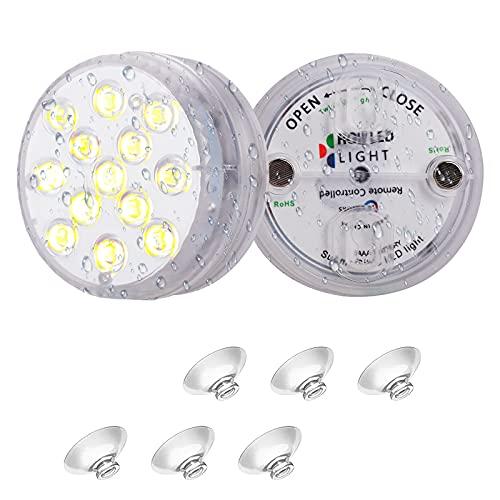 CNNIK Unterwasser Licht, 2 Stück Wasserdichtes LED Unterwasserleuchten, Tauchlicht mit 13 LEDs und RF Fernbedienung LED Farbwechsellicht für SPA, Aquarium, Teich, Poolbeleuchtung, Inneneinrichtung