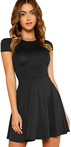 Milumia Women s V Back Fit and Flare Short Sleeve Stretchy Short Swing Mini Basic Dress Black product image