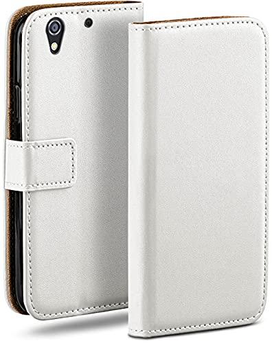 moex Klapphülle kompatibel mit HTC Desire 626G Hülle klappbar, Handyhülle mit Kartenfach, 360 Grad Flip Hülle, Vegan Leder Handytasche, Weiß