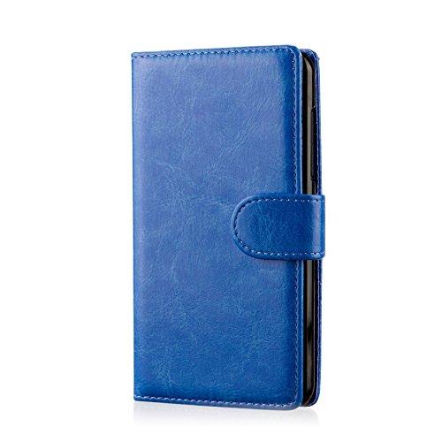 32nd PU Leder Mappen Hülle Flip Case Cover für ZTE Blade L3, Ledertasche hüllen mit Magnetverschluss & Kartensteckplatz - Blau