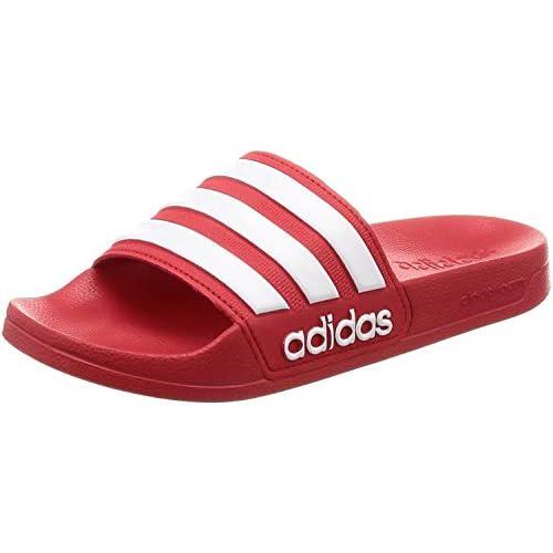 adidas Adilette Shower, Scarpe da Spiaggia e Piscina Uomo, Rosso (Scarle/Ftwwht/Scarle Scarle/Ftwwht/Scarle), 43 EU