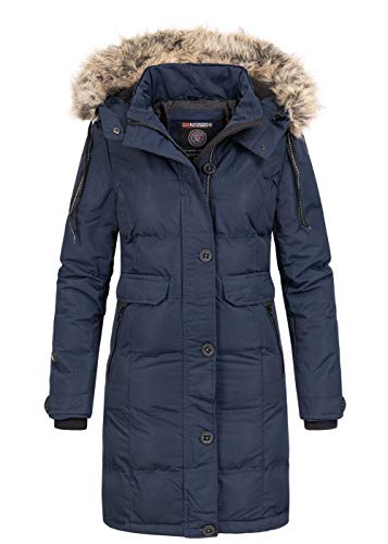 Geographical Norway Damen Winterjacke Parka Kapuze Webpelz abnehmbar Storm Cuffs Patches Navy, Gr:M