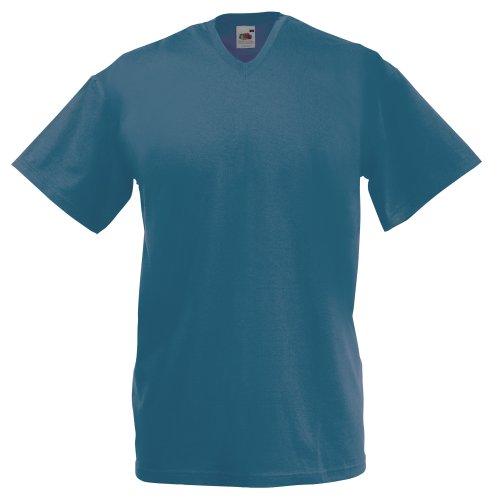 Fruit of the Loom Valueweight T-Shirt mit V-Ausschnitt, für Herren, Größe XL, Blau matt