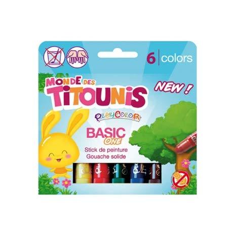 Malstifte Gouache, solide 10 g, Titounis – Basic One – 6 verschiedene Farben – 20411