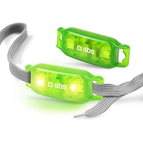 SBS TTLIGHTLACES - Accesorios para Zapatillas y Calzado Deportivo (Shoe Clip Light, Verde, Gris, CR1220, LED, Verde, Flashing Light)