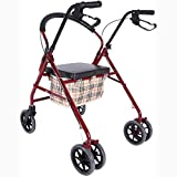 GenericBrands Caminante con Rodillo Ligero Plegable Carrito De La Compra Marco para Caminar con Asiento Y Respaldo Acolchados Manijas Ajustables En Altura para Personas Mayores Discapacitadas