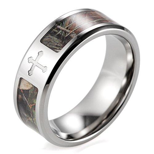 SHARDON Men's 8mm Titanium Single Cross Tree Camo Engagement Ring Size 12