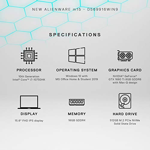 Dell Alienware m15(R3) 15.6-inch FHD Gaming Laptop (10th Gen Core i7-10750H/16GB/512GB SSD/Windows 10 Home & MS Office/6GB NVIDIA GTX 1660 Ti Graphics), Lunar Light
