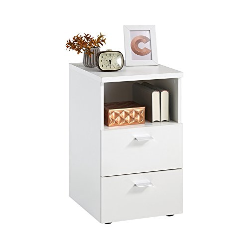 FMD furniture 652-001E, Nachtkonsole in Ausführung Weiß, Maße ca. 35 x 61,5 x 40 cm (BHT), Melaminharz beschichtete Spanplatte