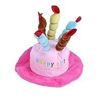 子犬 子猫 犬猫用 バースデー お誕生日 プレゼント 帽子 ハット ペット メモリアル用品,ピンク