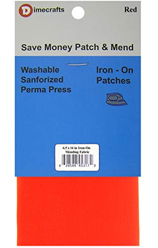 1 Patch Iron-On Red Mending Fabric 6.5 x 14 Inch Compare to Bondex