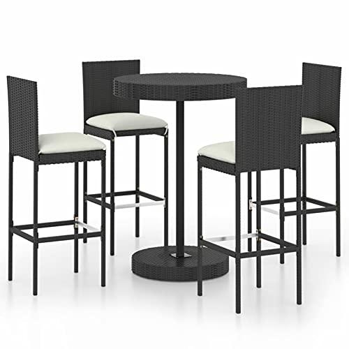 Tidyard Set da Bar da Giardino 5 pz in Polyrattan Nero,Set Tavolo e Sedie da Bar Alti da Giardino in Rattan,Set Tavolino Rotondo e 4 Sgabelli da Bar Alti in Rattan per Esterno