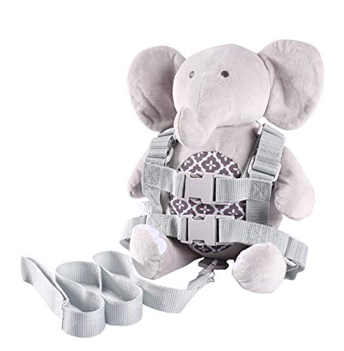 Berhapy 2 in 1 Elephant Toddler Safety Harness With Mini Backpack Children's Walking Leash Strap(gray)