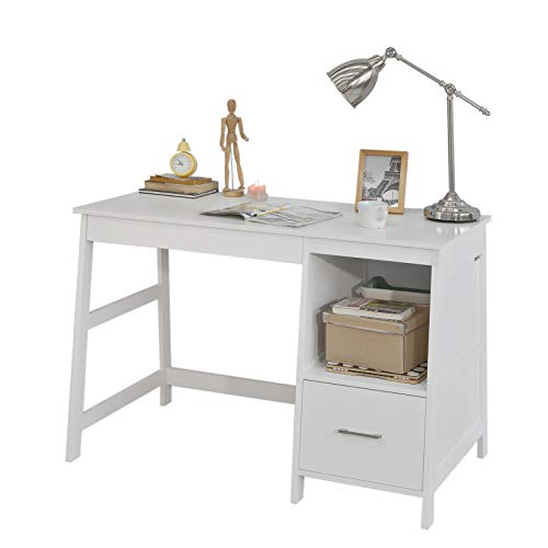 SoBuy Mesa de Escritorio, Mesa de Ordenador con 1 cajon y 1 Cuadrada,Color Blanco,FWT38-W,ES (Mesa)
