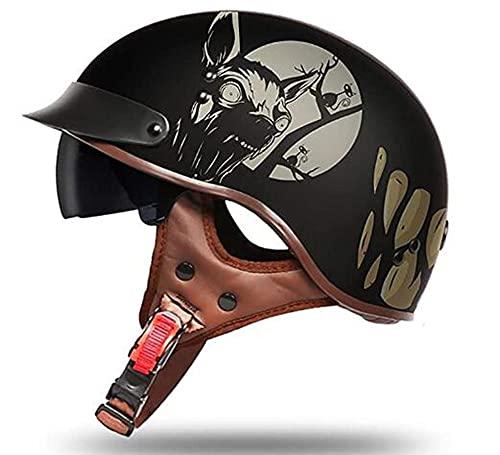 Medio casco de motocicleta clásica, casco retro abierto con gafas, adecuado para motocicletas de crucero, casco de ciclomotor forrado desmontable unisex, certificación DOT/ECE B,one size