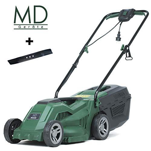 MD Elektro-Rasenmäher, Mulch Funktion, 33 cm Schnittbreite, 1300 Watt, für Rasenflächen bis zu 300 m², 20-60 mm Höhenverstellung, inkl. 30 L Grasfangkorb und Ersatzmesser, MD220