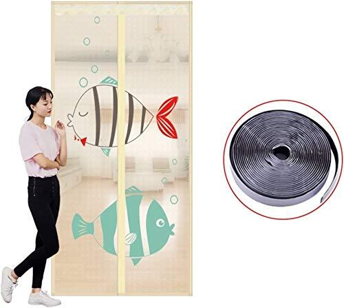 Fly scherm deur Velcro magneet muggen gordijn, rolluiken op Summer Magnetic Encryption Soft hordeur for Home Bedroom Invisible zand gordijn (Color : L, Size : 110x200cm(43x79inch))