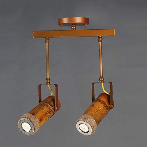 BICCQ lámparas de araña Brown Creativo Pista Luz De Bambú del Tubo LED Foco Personalidad Bar Tienda De Ropa Decoración Restaurante Retro del Viento Industrial 500 * 350 (mm)