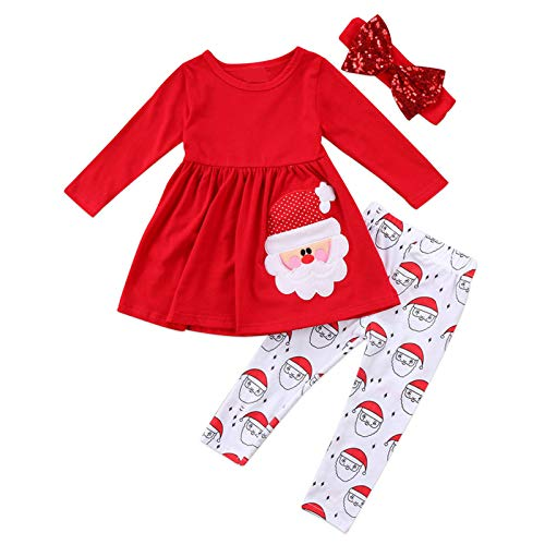 Toddler Baby Girl Clothes Christmas Outfits Santa Long Sleeve Tops and Pant Infant Clothing Set (Red, 3T)