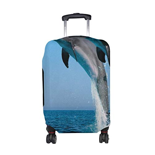 Dolphins Jump Water Sea Spray Synchronously Pattern Print Travel Luggage Protector Baggage Suitcase Cover Fits 18-21 Inch Luggage