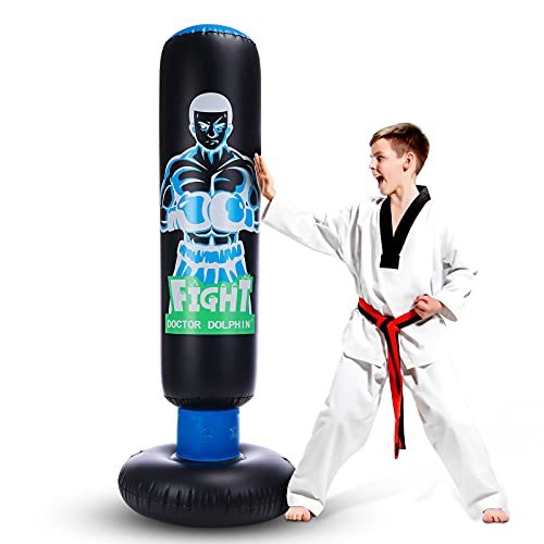 Inflatable Kids Punching Bag with Stand Freestanding Punching Bag with Bounce Back Tall 63 inch Fitness Boxing Bag for Practice Kickboxing Taekwondo MMA Karate for Kids and Adults