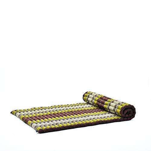 Leewadee materassino thailandese Arrotolabile, L: Tappeto per Dormire, Spessa stuoia da Massaggio, Strumento Ecologico in kapok, 200 x 105 cm, Marrone Verde