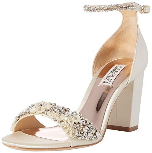 Badgley Mischka Women's Finesse Heeled Sandal, ivory satin, 7 M US