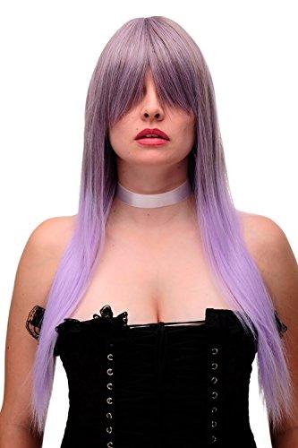 WIG ME UP- peluca de mujer cosplay flequillo abierto genial pelo muy largo liso mezcla de castao y lila claro GF-W2170-8TT3815 70 cm