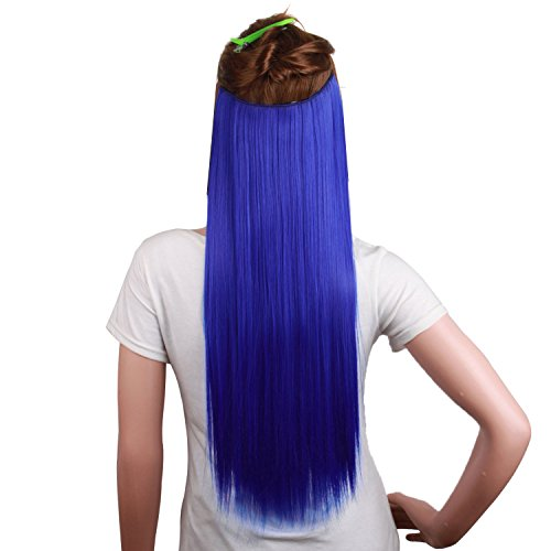"""MapofBeauty 24""""/60cm Beautiful Mixed Color Long Straight 5 Clip Hair extension (Royal Blue)"""