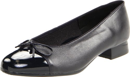 ara Women's Bel Ballet Fat,Navy Leather With Patent Tip,7.5 N US