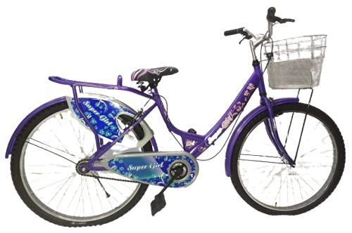 Geoman Super Girls City Bike 26T Basket Carrier Ladies Cycle Single Speed Bicycle, Blue, Age 8-13 Years