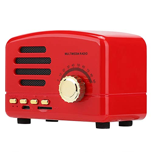 Retro Wooden Wireless Bluetooth Speaker, This Portable Speaker with MIc suppport FM Radio/USB/TF Card/Bass Stereo Music(Red)