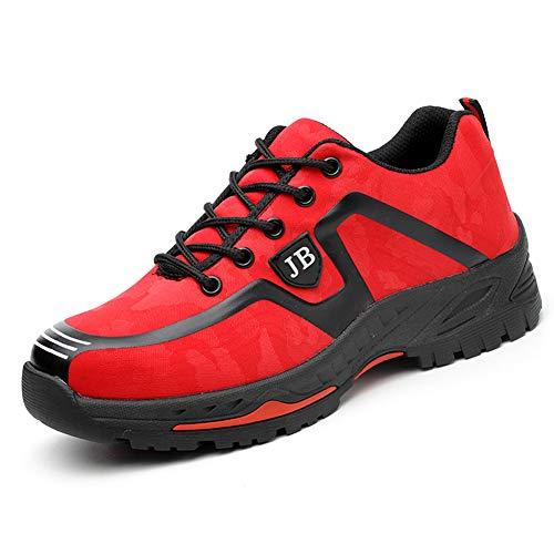 Calzado de Trabajo Hombre Mujer Zapatillas de Seguridad con Puntera de Acero Antideslizante Transpirables Unisex Rojo 42