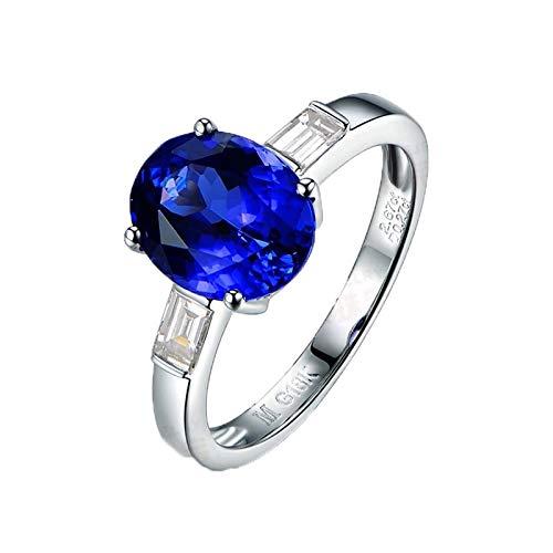 Bishilin Weißgold Ring 750 18Karat 2.66ct Oval Blau Tansanit Hochzeit Ringe Verlobung mit Diamant 0.27ct Große 54 (17.2)