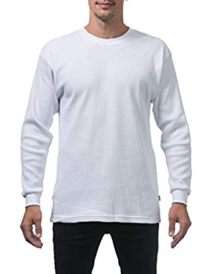 Pro Club Men's Heavyweight Cotton Long Sleeve Thermal Top, Large, White