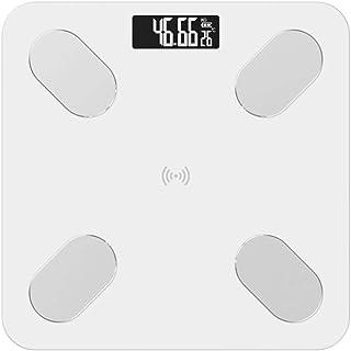 GUOCAO Báscula de pesaje de grasa corporal, báscula de baño, electrónica inteligente LED digital de peso digital, aplicación Bluetooth Android o iOS, 180 kg, color blanco digital