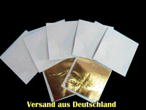 Versand aus Deutschland - zum Basteln - Künstlerbedarf - Blattmetall als Schlagmetall - 10er Set ca. 64x 64 mm VERSAND AUS DEUTSCHLAND