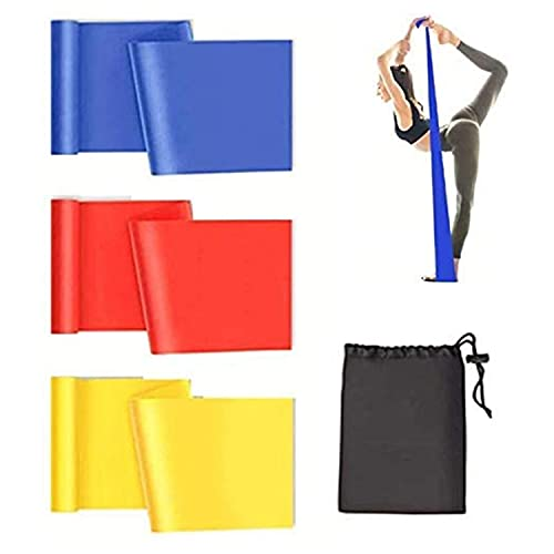 Resistance Bands Set,Resistance Exercise Bands 3 Pack, Latex Elastic Workout Band with 3 Resistance Levels for Women and Man, Physical Therapy, Yoga, Pilates, Rehab, The Gym fitness (Red/Yellow/Blue)