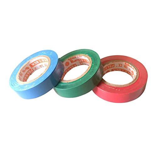 3 Stücke PVC Isolierung Isolierband Flamme Retardent Rot Grün Blau 17mm X