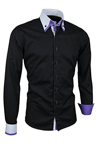 Giorgio Capone Herrenhemd, schwarz mit weißen und lila Akzenten, Langarm, Button-Down-Kragen, Slim & Regular Fit (M Slim)