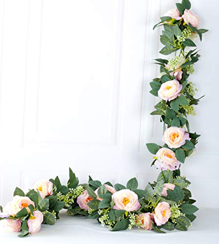 LNHOMY 2 Pcs 16FT Artificial Rose Vine Fake Flower Garland Silk Hanging Rose lvy Plants Floral for Wedding Arch Décor, (Pink) Silk Flower Arrangements