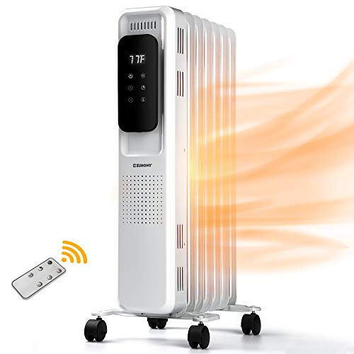 EUHOMY Oil Filled Radiator Heater with Remote Control, 1500W Electric Radiator Heater with 24 Hours Timer, Overheat Protection and Tip Over Auto Shut Off, Portable Space Heater for Indoor Use