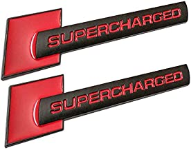 2pcs Supercharged Alloy Badge Emblems,3D Decal Replacement for TT A3 A4 A5 A6 A7 A8 Q3 Q5 Q7 S4 S6 S5 RS5 (Black Red)