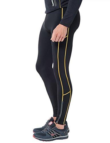 Ultrasport Pantaloni Jogging per Uomo Thermo-Dynamic Imbottiti con Funzione Quick Dry, Nero/Giallo, M