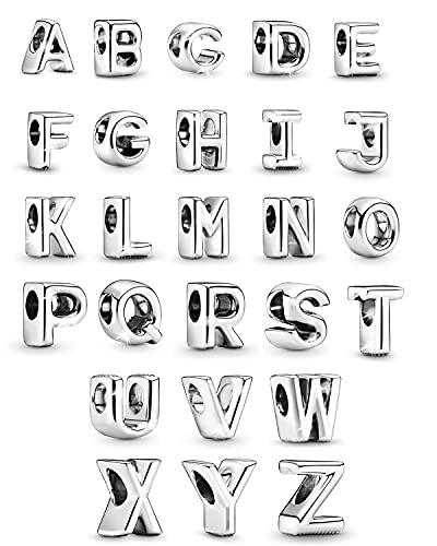 Inicial A-Z Charm Original Letter Alphabet Bead Charms se adapta al collar de pulsera Pandora para mujeres y niñas, 26 piezas