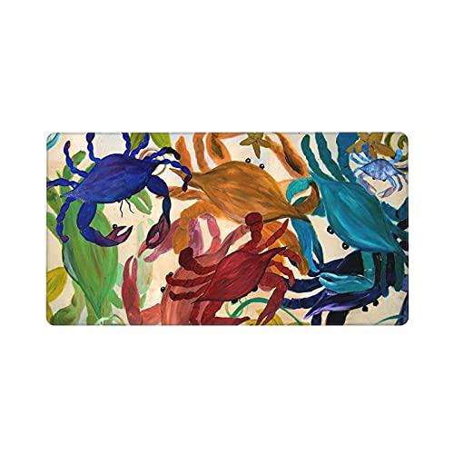 Alfombrilla De Ratón para Guegos De Gran Tamaño de (30x80CM),Cangrejo Fiesta Acuarela Animales Marinos Multicolor,Grande Base de Goma Antideslizante,Adecuada para Jugadores,PC y portátiles