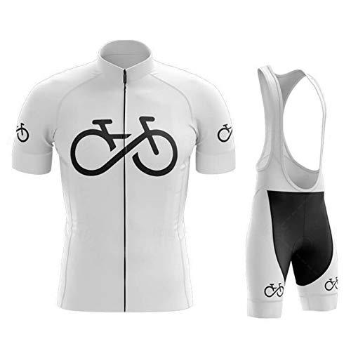 SJASD Maillots De Ciclismo Hombre Verano Mangas Cortas, Maillots De MTB Pantalones De Cortos De Correa con Cojín De Gel 19D, Ropa Correr Anti-UV,Blanco,S