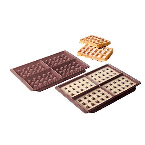 Kitchen Artist MEN251 Kit 2 moules à gaufres en silicone, Marron