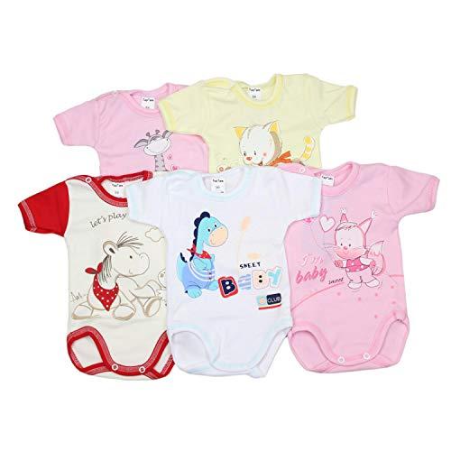TupTam TupTam Unisex Baby Kurzarm-Body mit Aufdruck Spruch 5er Set, Farbe: Mädchen, Größe: 80