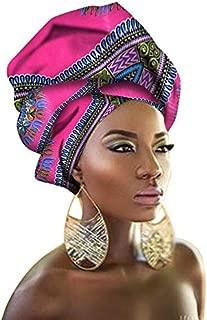 HITSAN INCORPORATION African Wax Print Ankara Head Wrap Scarf Head Tie Cotton Turban Pink